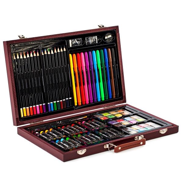 Комплект художествени материали 81 части в дървен куфар