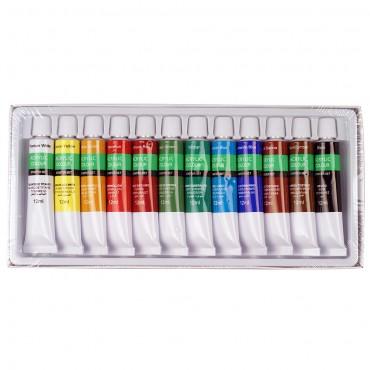 Комплект акрилни бои 12 цвята по 12 мл. в алуминиеви тубички