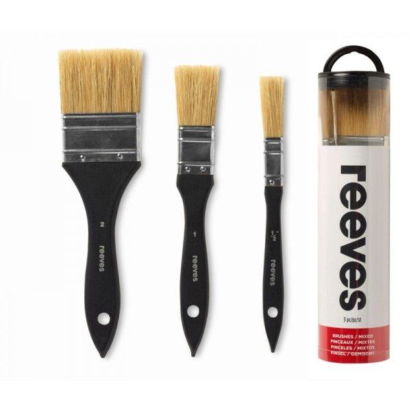 Комплект 3 бр. плоски четки от естествен косъм в тубус Reeves