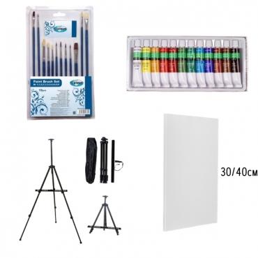 Комбо комплект за рисуване с акрилни бои върху платно