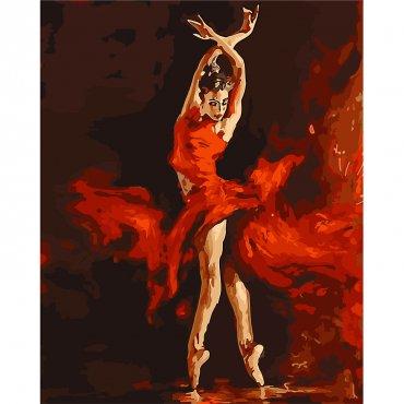 """Картина за рисуване по номера  """"Балерина в червено"""""""