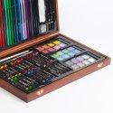 Комплект художествени материали 80 части в дървен куфар