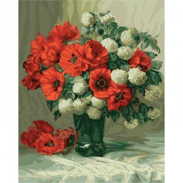 """Картина за рисуване по номера  """"Цветя във ваза"""""""
