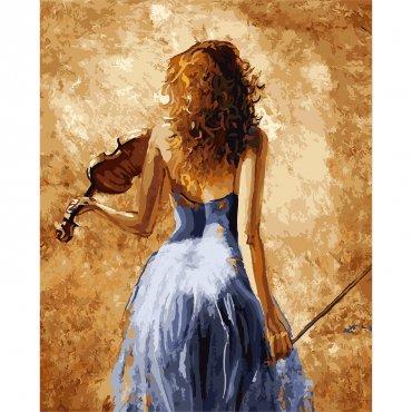 """Картина за рисуване по номера  """"Цигуларката"""""""