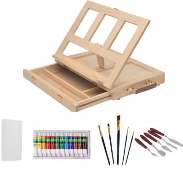 Комплект за рисуване с акрилни бои с настолен статив
