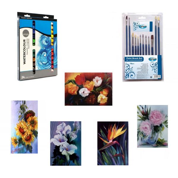 Комплект за оцветяване с картина Bob Ross по избор, акварелни бои 24 цвята и 12 броя четки