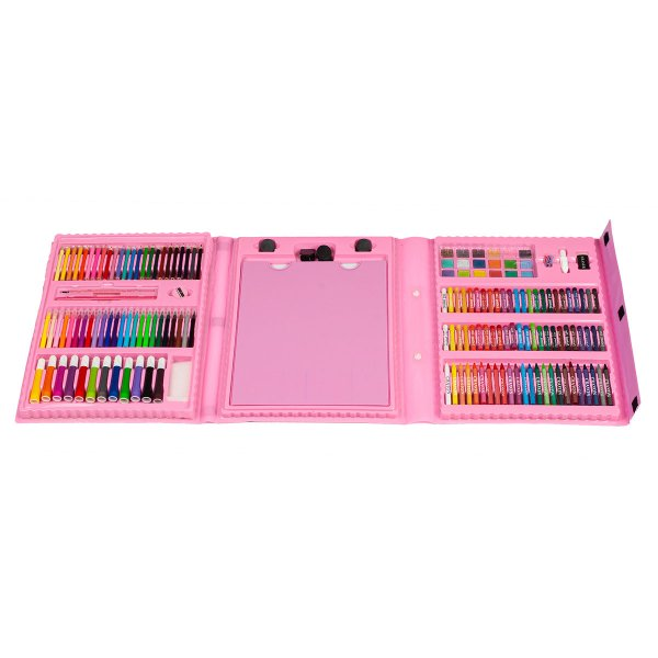 Комплект за рисуване в троен розов куфар 176 части