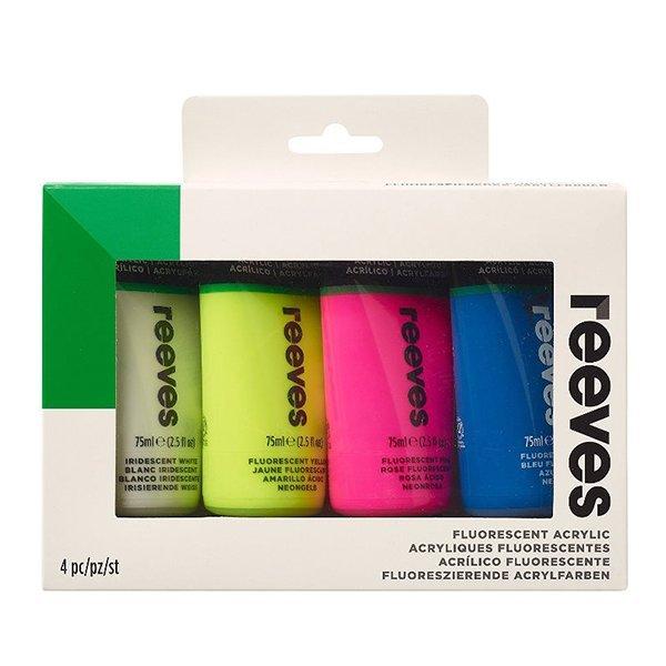 Комплект флуресцентни акрилни бои 4 цвята по 75 мл. Reeves
