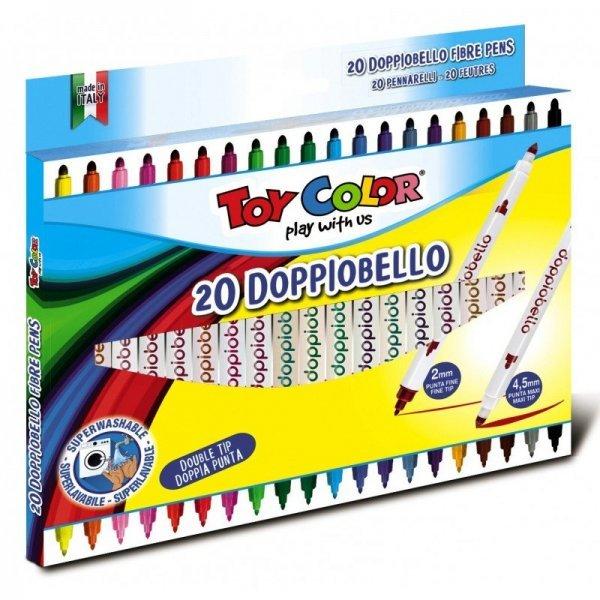 Комплект 20 броя двувърхи цветни флумастери TOY COLOR