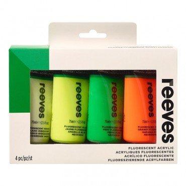 Комплект флуресцентни акрилни бои Reeves Neon