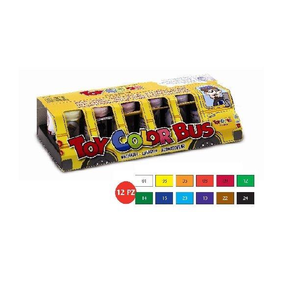 Комплект темперни бои 12 цвята по 25 мл. в бурканчета с четка и палитра