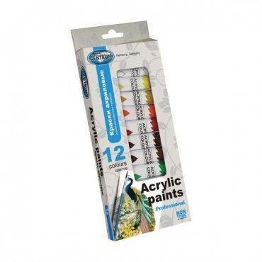 Комплект висококачествени акрилни бои 12 цвята по 12 мл.